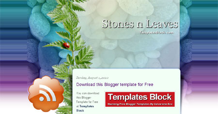 Stones Leaves Nature Web2.0 Blogger Template
