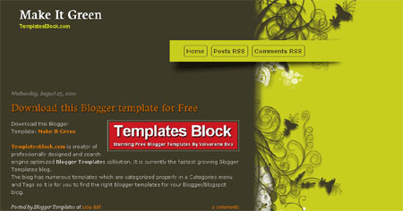 Make It Green Flowers Blogger Template