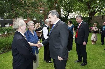 Hilary Ash shakes hands with Gordon Brown