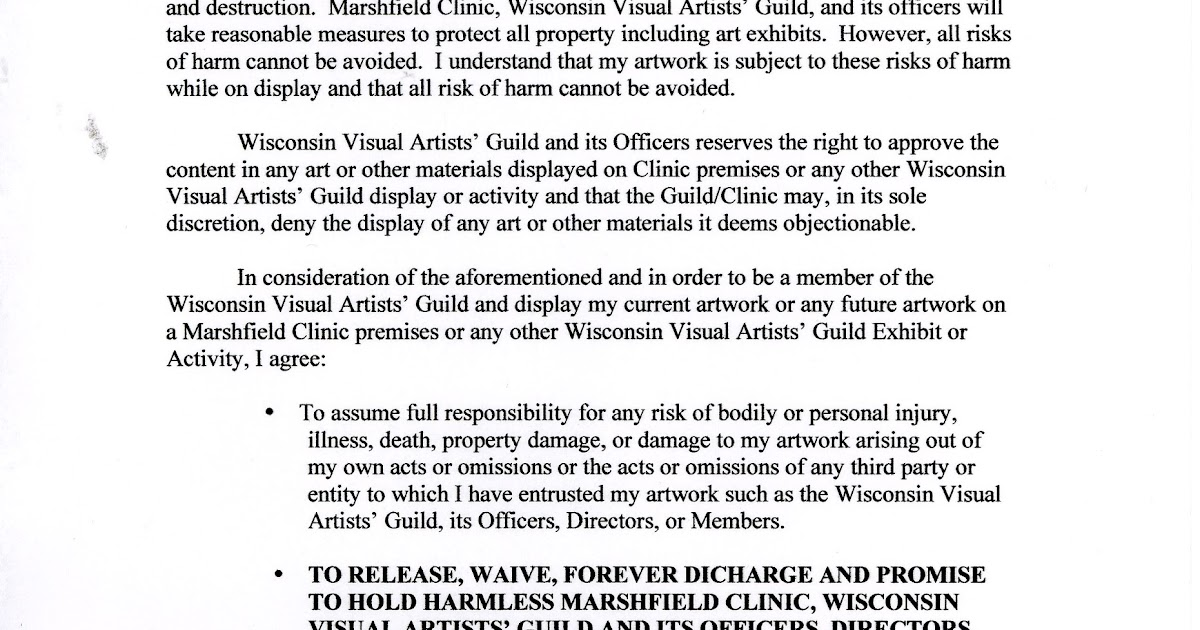 Wisconsin Visual Artists Guild Wvag Release And Waiver Of