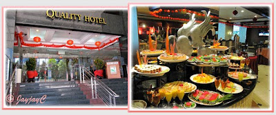 Collage: the entrance to Quality Hotel, KL and inside Benteng Coffee House with the cake and desserts spread