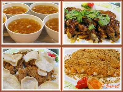 Food collage: Shark's Fin, Baked Seaperch, Cold Sea Prawns and Crispy Chicken