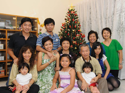 My family of nine and relatives, in front of our Christmas tree
