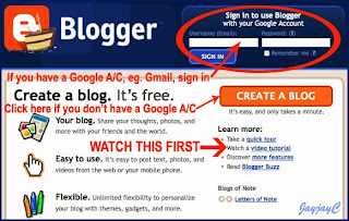 Screen capture on 'Create A Blog'