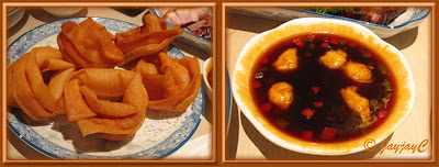 Photo collage of fried wonton skins and sauce at Canton-i, Mid Valley Gardens