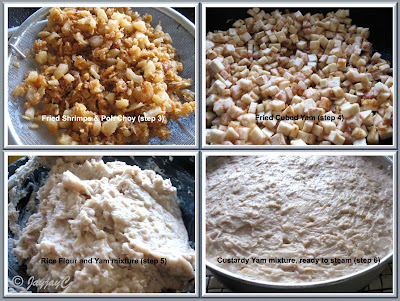 Photo collage showing preparation of mixture for Yam Cake steaming