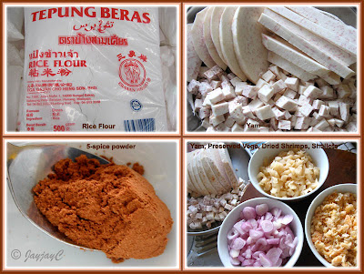 Photo collage showing some of the ingredients used for Yam Cake
