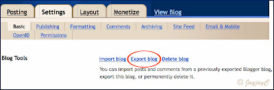 Screen shot on how-to export blog in Blogger - Step 1: export blog