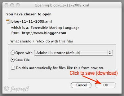 Screen shot of download manager - Step 3: save file