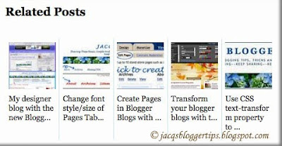 Screen shot of Related Posts with thumbnails widget by Aneesh of Blogger Plugins