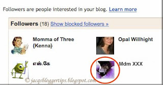 Screen shot to illustrate how-to block a follower on blogger #2/5