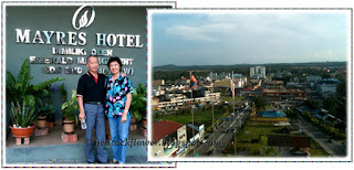 John and I at the entrance of Myres Hotel. The other is an aerial view of KT town taken from our room at 10th floor