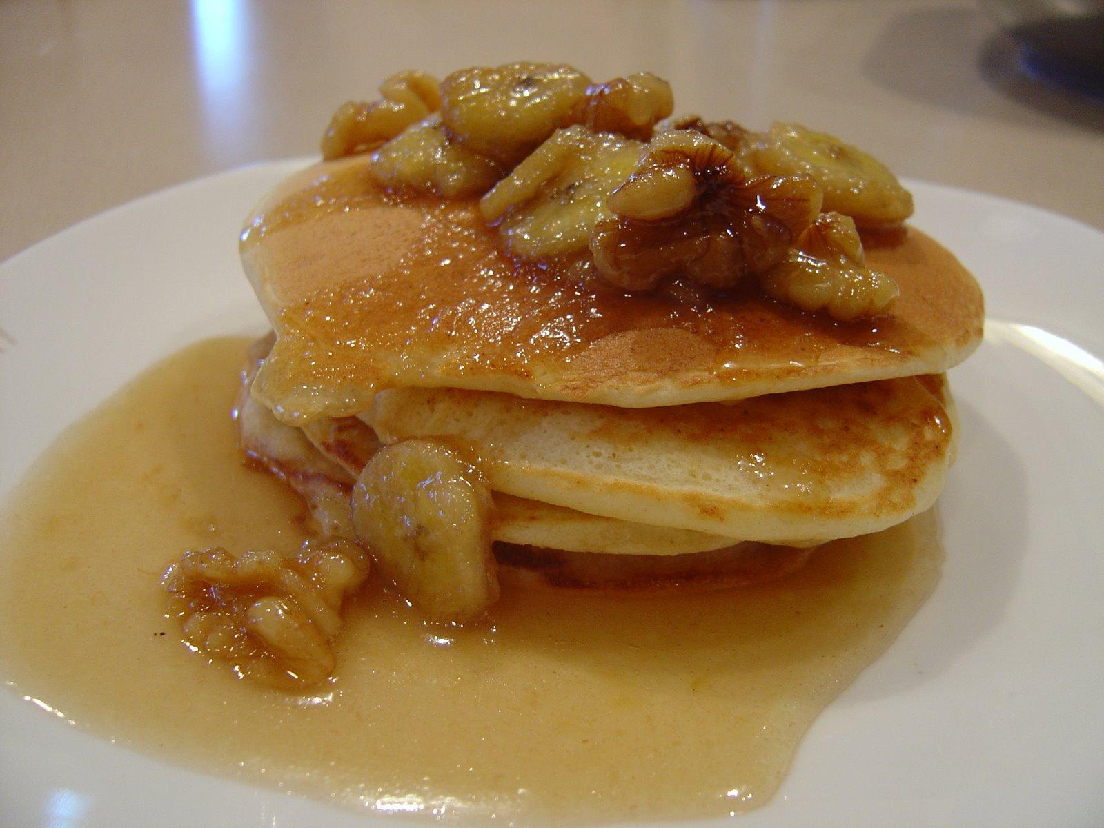 Ricotta Pancakes with Banana Pecan Syrup