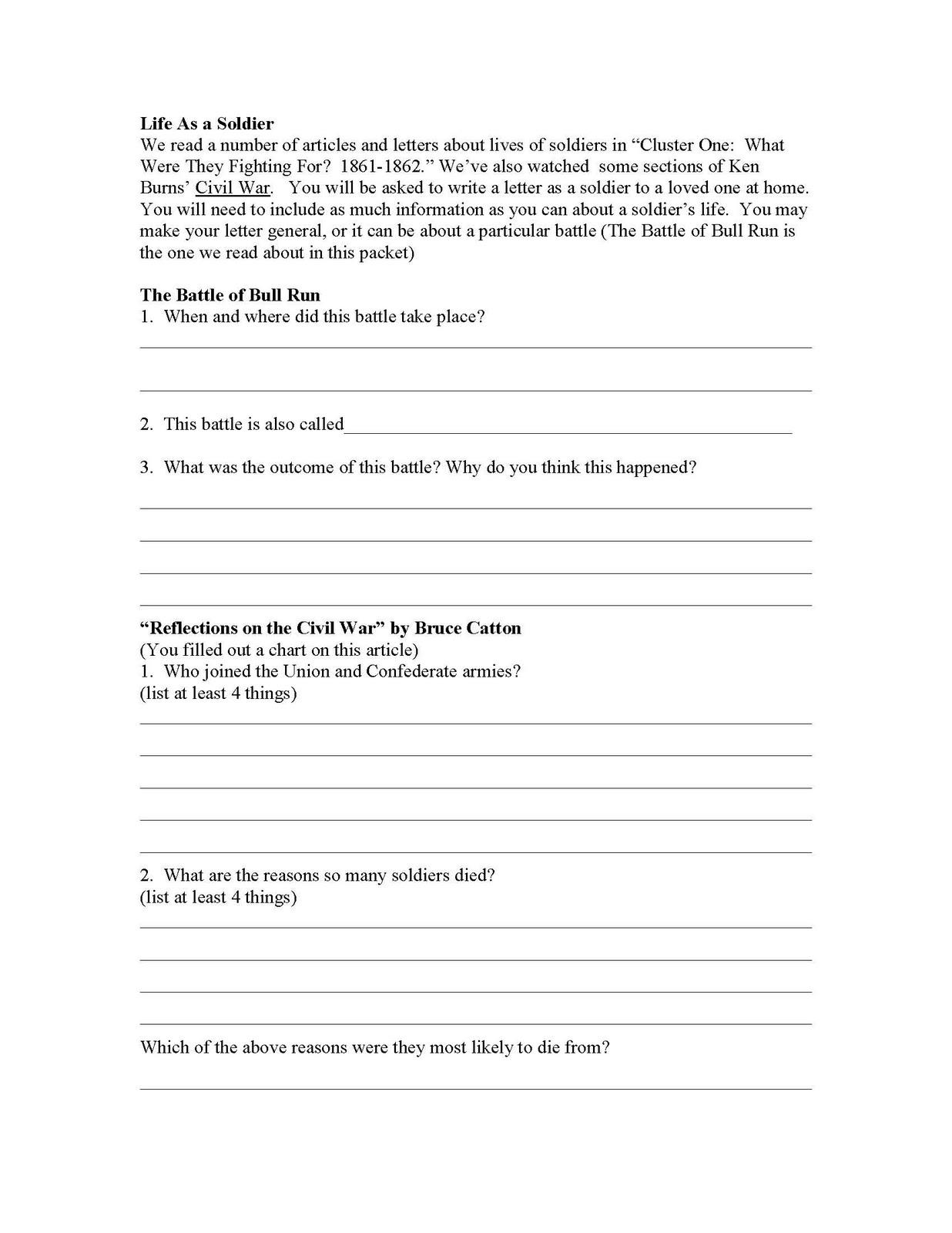 8th Grade, Civil War Study Guide - Bruce Guadalupe