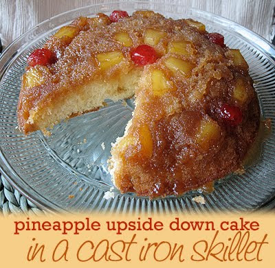 Pineapple Upside Down Cake Cooked in a Cast Iron Skillet Recipe