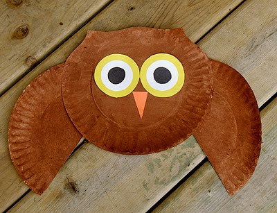 recycling ideas for kids: paper plate owl craft