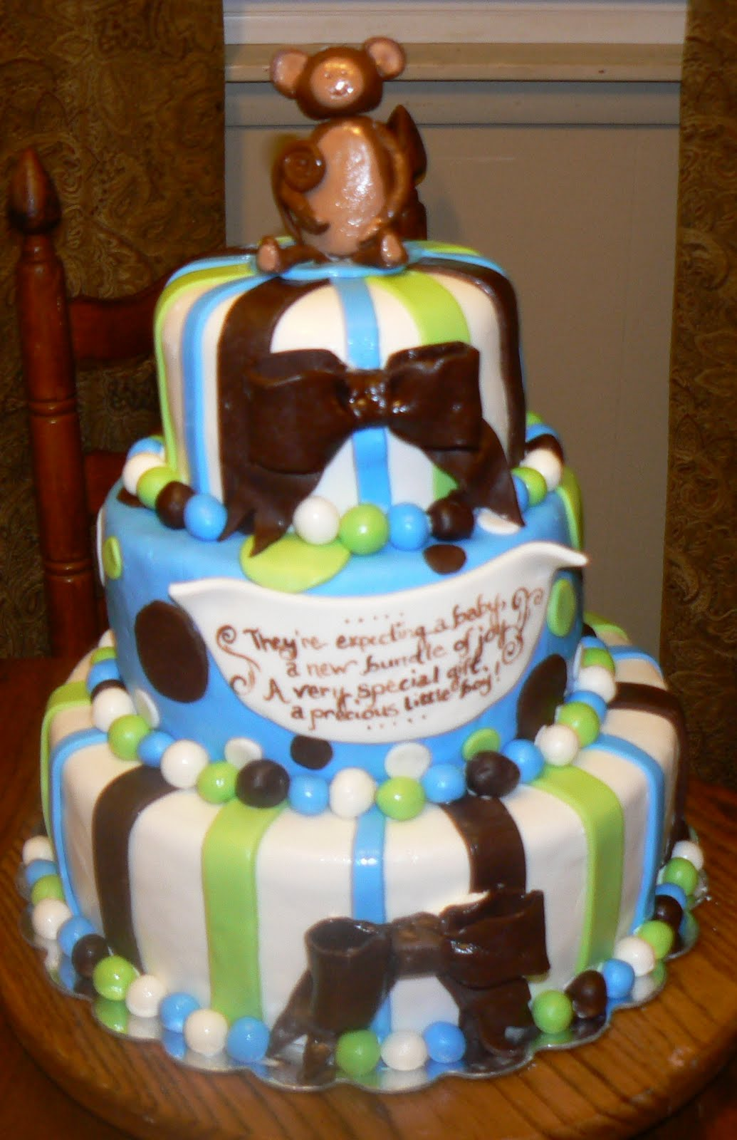 Kelly roberts designs baby shower and birthday cake - Baby shower cakes monkey theme ...