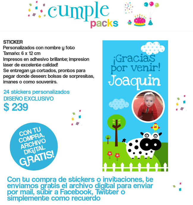Cumple Packs: LA GRANJA / Tarjetita y sticker para cumpleaños ...