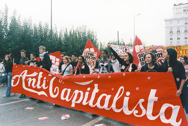 Το πανό των Anti-Capitalista