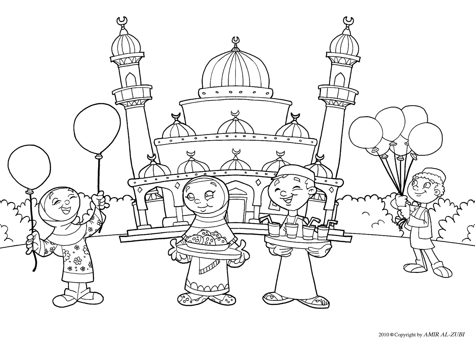 New Muslim Kids Eid Coloring Page Muslim Coloring Pages