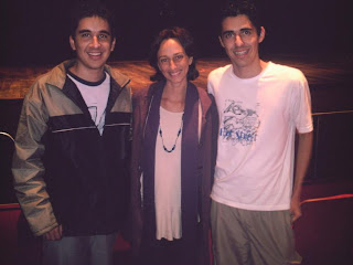 Danilo (postador Blog do Dan), Lais Bodanzki (diretora de CHEGA DE SAUDADE) e Éder (postador CP)