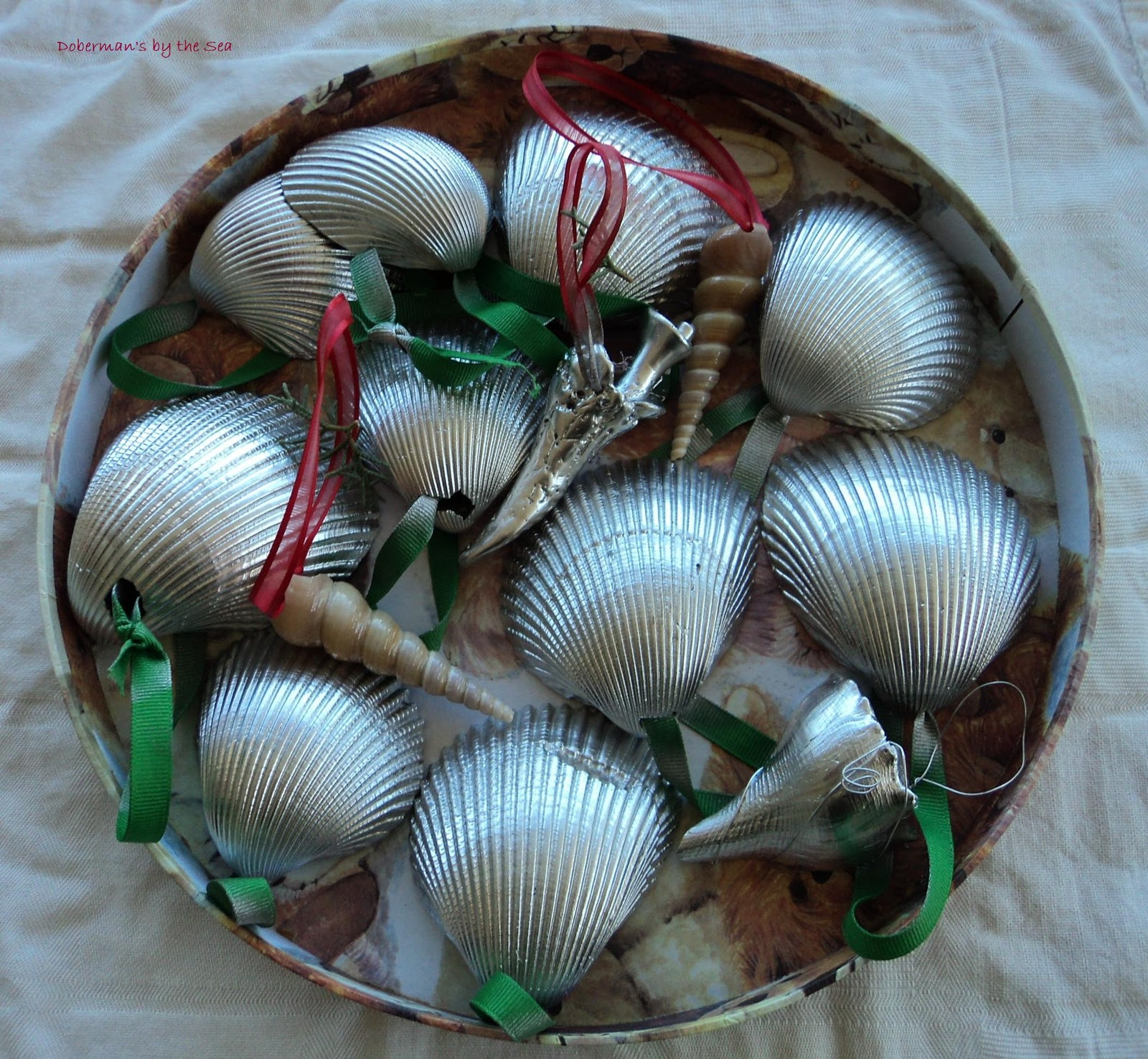 Doberman 39 s by the sea diy sea shell garland ornaments for Seashell ornaments diy