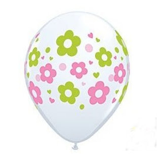 pink and green flowered balloon