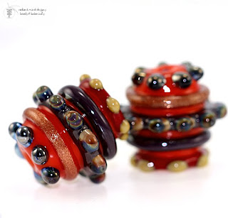 Cool Barrel Lampwork Beads