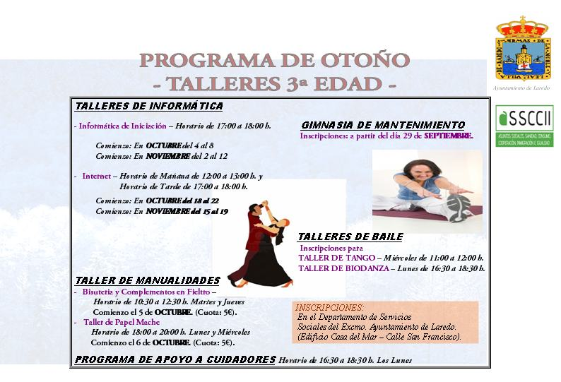 PROGRAMA DE OTOÑO TALLERES TERCERA EDAD