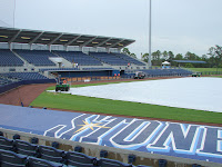 Florida's typical afternoon thunderstorms led to postponement of Saturday's game against the Blue Jays.