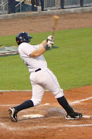 Matt Sweeney drove home the winning run in the eleventh inning for the Biscuits.  Photo by Jim Donten.
