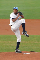 Frank De Los Santos picked up his team leading sixth win with a 7 1/3 inning shut-out perfromance.  Photo by Jim Donten.