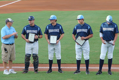 Stone Crabs recieve their Postseason All-Star Awards from GM Joe Hart. Photo by Jim Donten.