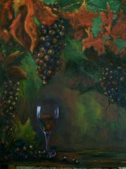 """Fruit Of The Vine"", a wine and grape still life"