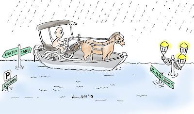 Banjir dalam coretan kartun