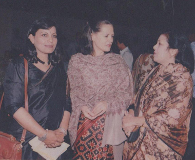 With Mrs Sonia Gandhi Ji, Dr Sarojini Pritam ji, 1999