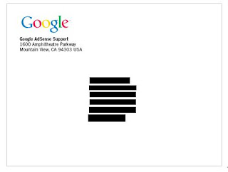 Google Adsense PIN mailer Front View