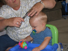 Grandma Bum giving Collin his first haircut
