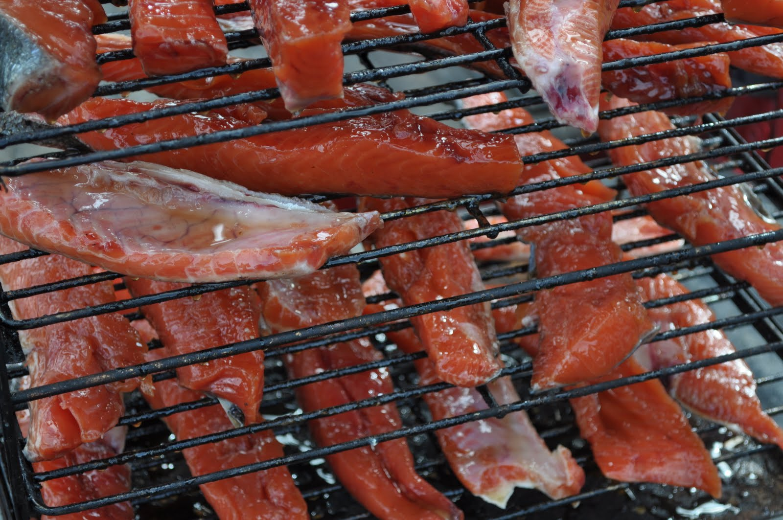 Brined Salmon Drying On A Rack