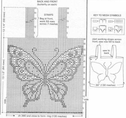 remera crochet de mariposa