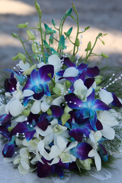 White Orchid Flower Bouquet White And Blue Orchids Bouquet