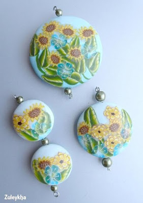 Polymer clay beads by Zuleykha