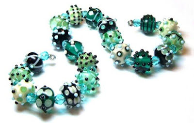 Lampwork beads with many raised dots