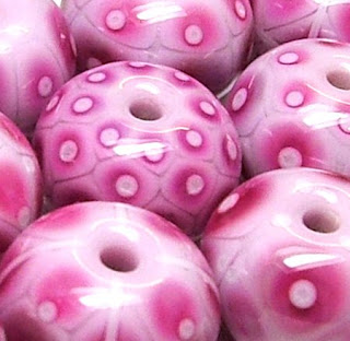 Pink Lampwork Beads By Laura Sparling