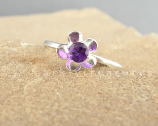 Silver & Amethyst Daisy Ring By Nicola Ryan
