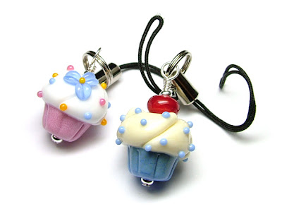 Lampwork Glass Cupcake Dangles