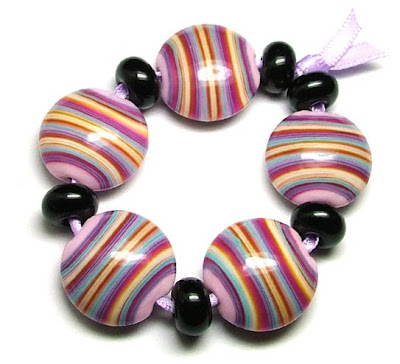 Lampwork Glass Striped Lentil Beads