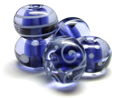 Blue Lampwork Glass Beads