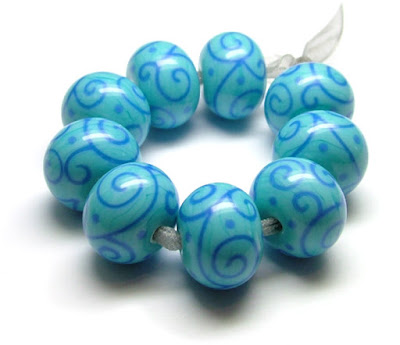 Turquoise Lampwork Glass Beads