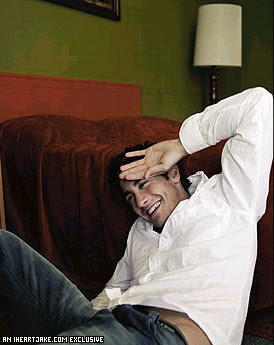 Jake Gyllenhaal, having a laugh during a sexy photo shoot